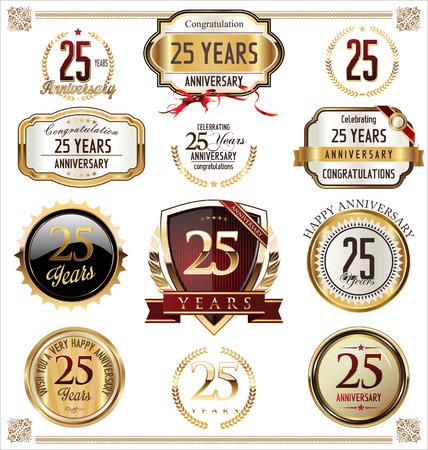 anniversary: Aniversario etiquetas de oro, insignias de 25 a�os