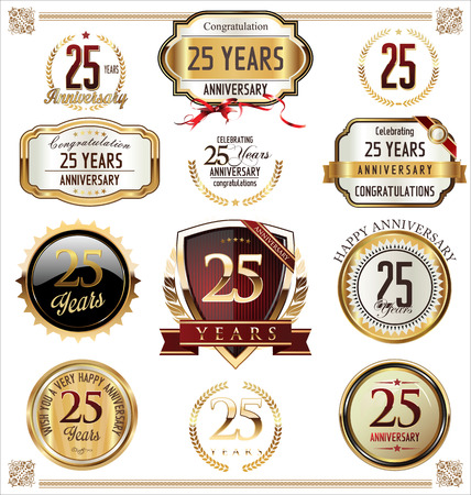 Anniversary golden labels and badges 25 years Stok Fotoğraf - 40379232