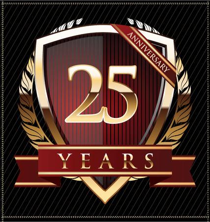 anniversary: Aniversario escudo de oro 25 a�os Vectores