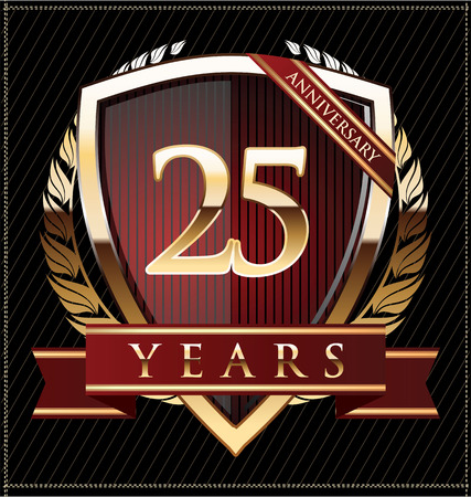 Anniversary golden shield 25 years Ilustracja