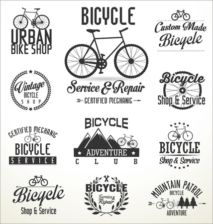 bike parts: Vector bicycle badges and labels Illustration