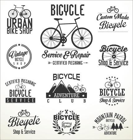 bike vector: Vector insignias bicicleta y etiquetas