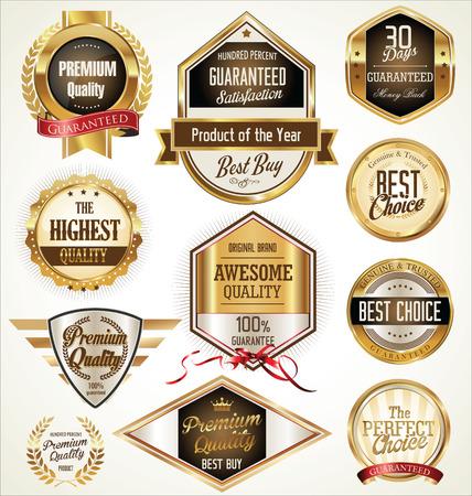 Kwaliteit gouden labels collectie Stock Illustratie