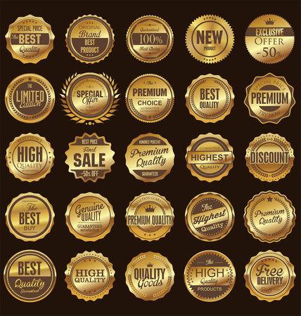 Odznaki i etykiety retro kolekcji Ilustracje wektorowe