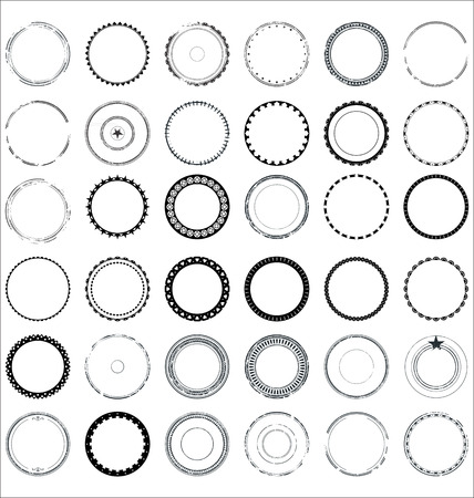 Set of round and circular decorative patterns