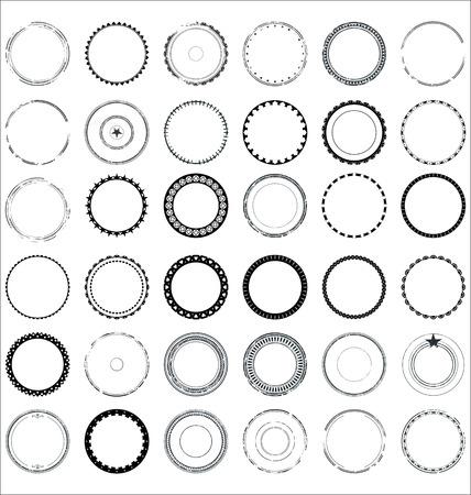 Set of round and circular decorative patterns