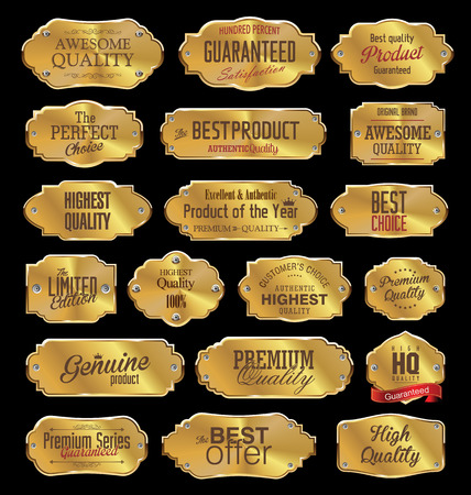 golden background: Metal plates premium quality golden collection Illustration