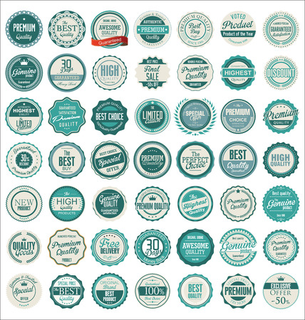 Premium kwaliteit retro badges Stock Illustratie