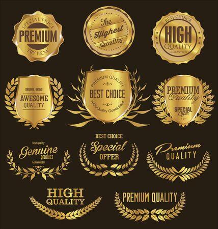premium: Golden premium quality retro vintage shields and laurels Illustration