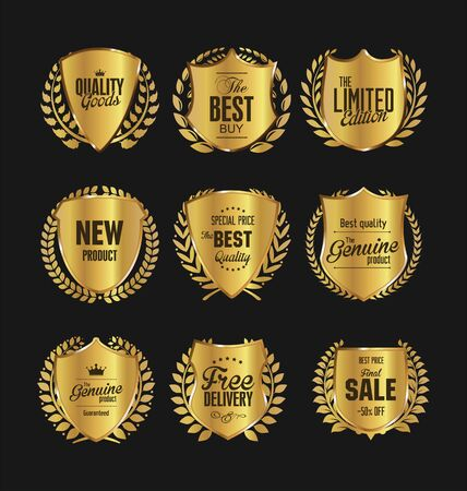 golden laurel wreath: Golden premium quality retro vintage shields and laurels Illustration