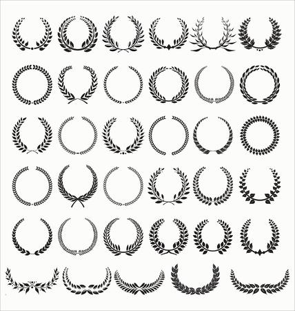 leaves vector: Laurel Wreaths Vector Collection Illustration