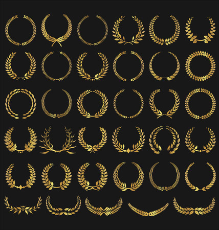 golden frame: Laurel Wreaths Vector Collection Illustration