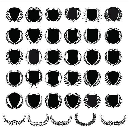 insignias: Vector escudos medievales y recogida coronas de laurel