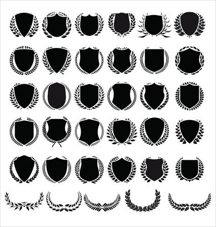 Vector medieval shields and laurel wreaths collection