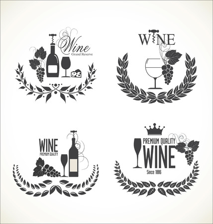 grapes wine: labels for wine with grapes Illustration