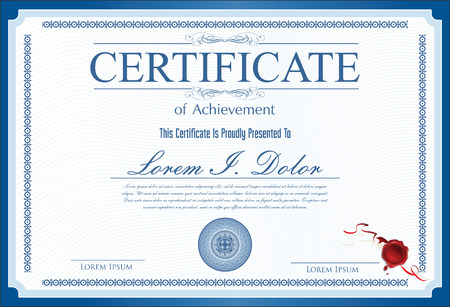 formal blue: Certificate, Diploma of completion