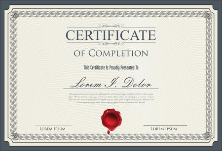 reconocimientos: Certificado, Diploma de finalización Vectores
