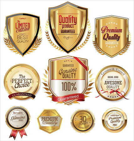 Quality golden badges and labels collection