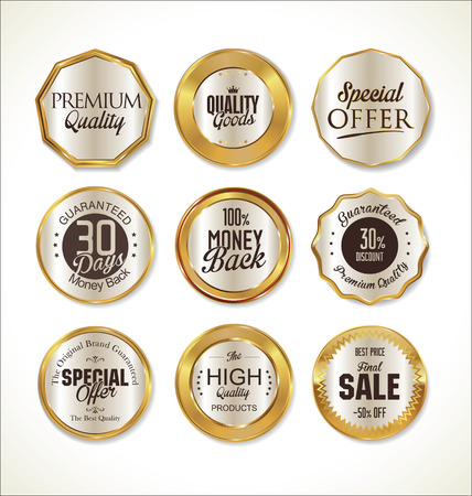 round button: Quality golden badges and labels collection