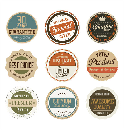 guarantee seal: premium quality retro badge collection Illustration