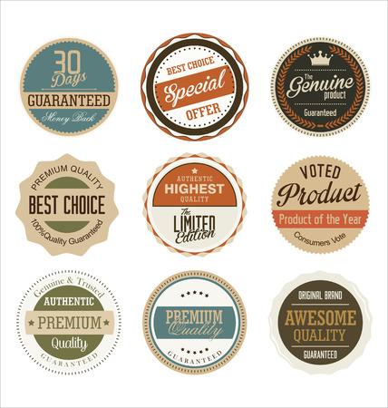 vintage stamp: premium quality retro badge collection Illustration