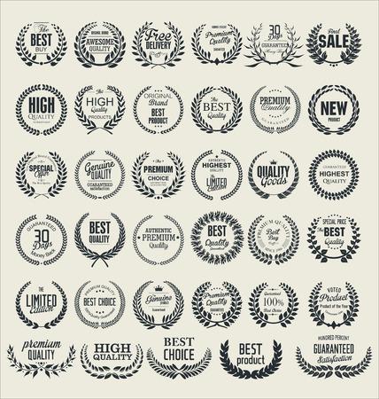 sellos: Corona de laurel premium de calidad, establecer Vectores