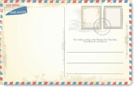 tarjeta postal: Vector de la postal en estilo del correo aéreo Vectores