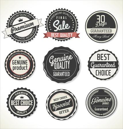Premium, retro vintage etiquetas de calidad colección