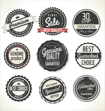 Premium, vintage rétro labels de qualité collection Vecteurs