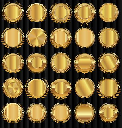 Étiquette dorée et la collecte de couronne de laurier
