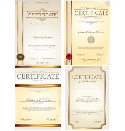 vintage frame vector: certificate template collection