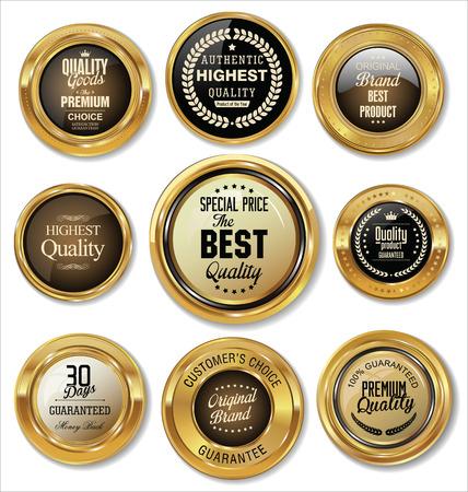 Colección de etiquetas de oro Foto de archivo - 43201084