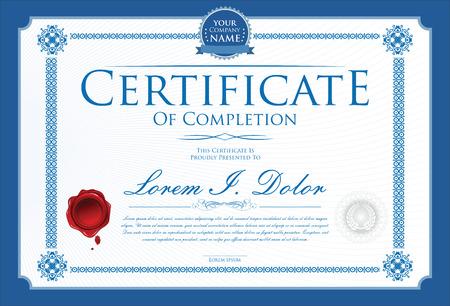 Blauw certificaat temlate Stock Illustratie