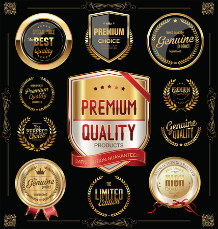 Quality golden badges and labels collection Stok Fotoğraf - 43934051