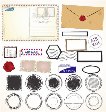 Conjunto de símbolos de estampillas postales Vectores