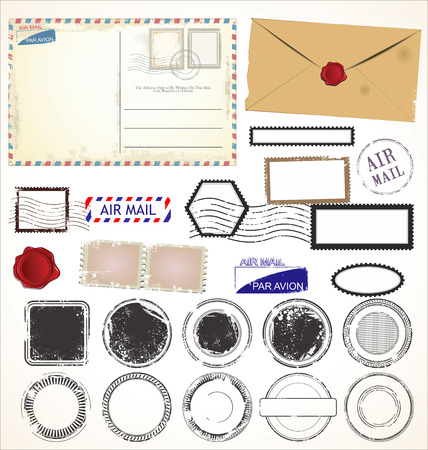 sobres para carta: Conjunto de símbolos de estampillas postales Vectores