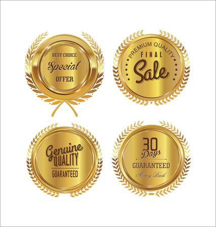 gold seal: Premium, quality retro vintage labels collection