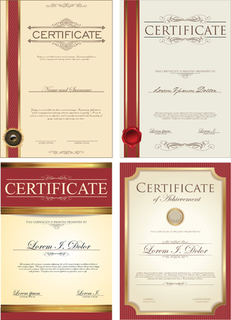 a certificate: Certificate template collection Illustration