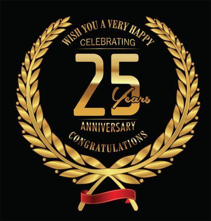 anniversary vector: Anniversary golden laurel wreath 25 years Illustration