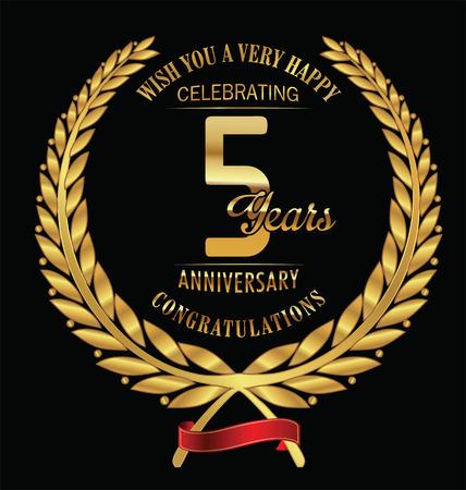 5th: Anniversary golden laurel wreath 5 years Illustration