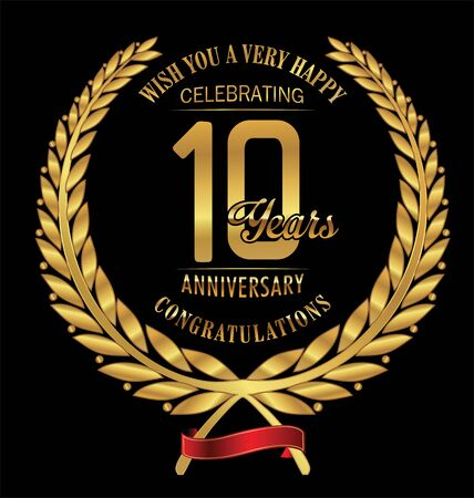 10 years: Anniversary golden laurel wreath 10 years