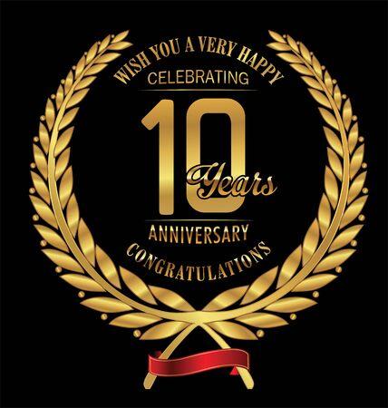 golden laurel wreath 10 years: Anniversary golden laurel wreath 10 years