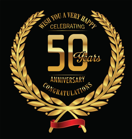 Aniversario de laurel de oro guirnalda de 50 años Foto de archivo - 44310281