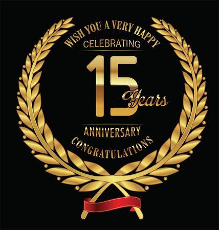 15: Anniversary golden laurel wreath 15 years Illustration