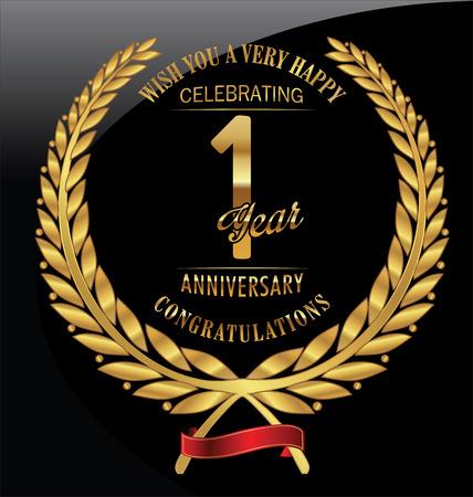 Anniversary golden laurel wreath 1 years