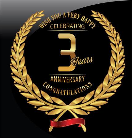 aniversario: Aniversario de laurel de oro guirnalda de 3 años