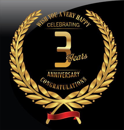 anniversary: Anniversary golden laurel wreath 3 years