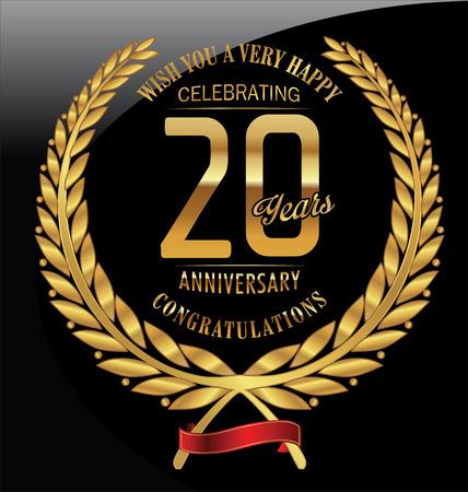20th: Anniversary golden laurel wreath 20 years
