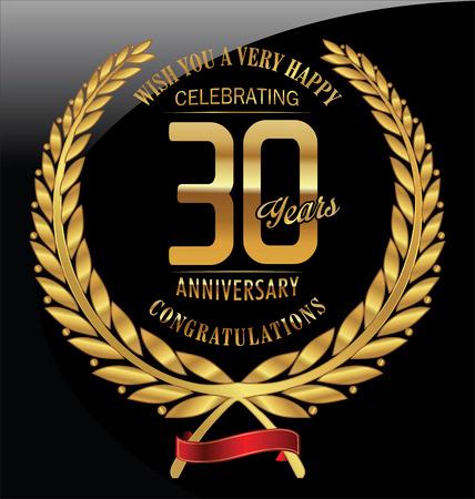 anniversario matrimonio: Anniversario alloro d'oro ghirlanda 30 anni Vettoriali