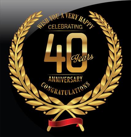 Anniversaire, couronne de laurier d'or 40 ans Banque d'images - 44428312
